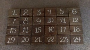 24 Rustic Wood Block Table Numbers