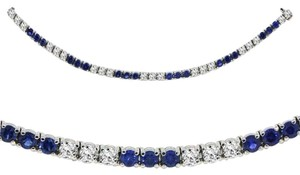 Avi and Co 12.00 cttw Round Cut Diamond and Blue Sapphire Tennis Bracelet