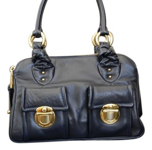 Marc Jacobs Blake Leather Marc Satchel in Navy