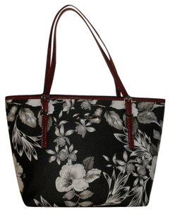 Nine West Floral Mini Tote in Black And White