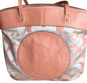 Coach Tote in Coral And Silver