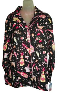 Nick & Nora Nick & Nora Flannel Pajama Set L New NWT Champagne Celebration Party