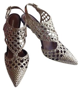 Donald J. Pliner Woven Platino Metallic Gold Pumps