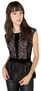 Francesca's Date Night Night Out Lace Overlay Peplum Velvet Accent Top BLACK