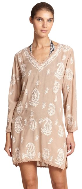Item - Sand and Pink Knee Length Embroidered Kaftan Cover-up/Sarong Size 6 (S)