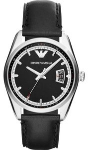 Emporio Armani Emporio Armani AR6014 Men's Black/Silver Leather Watch NEW!