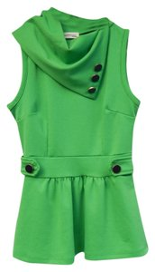 Modcloth Peplum Asymmetric Button Stretchy Pastel Light Gold Black Sleeveless Top Lawn Green