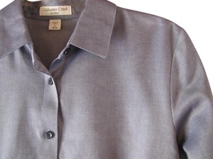 Coldwater Creek No Iron Medium M Button Down Shirt Gray
