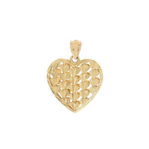 Avital & Co Jewelry Heart Pendant 14k Yellow Gold Diamond Cut