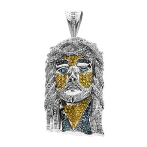 Avital & Co Jewelry 5.85 Carat Mens Yellow And Blue Diamond Jesus Head Pendant 14k WG