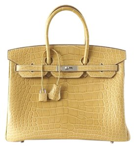 Hermès Birkin 35 Alligator Tote in Mais - Straw