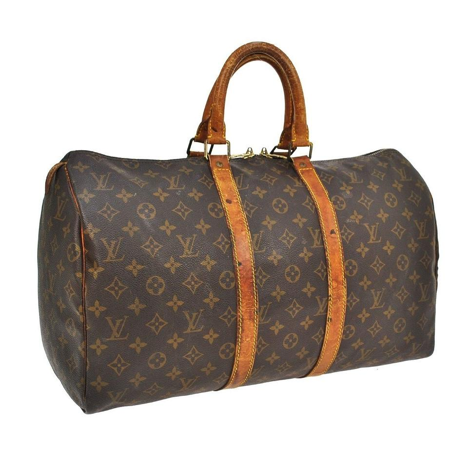 louis vuitton monogram keepall 45 brown travel bag weekend travel bags on sale. Black Bedroom Furniture Sets. Home Design Ideas