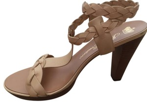 Juicy Couture Leather Braided Wood Nude Platforms
