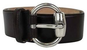 Gucci Gucci Leather Belt Whorsebit Buckle Dark Brown 90/36 307985 2140