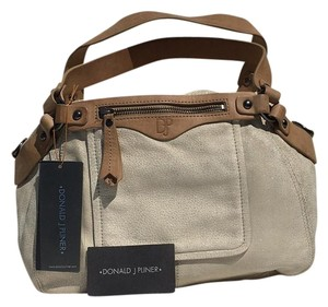 Donald J. Pliner Suede Whites Perfect Satchel in Ivory, Camel