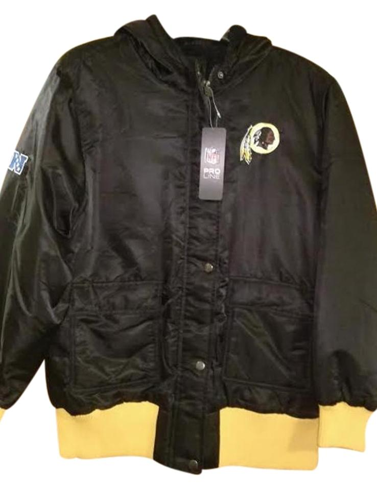 newest 8a5f0 4aecd Black and Yellow Washington Redskins Women's Nylon Canvas Jacket with  Fleece Lining Coat Size 16 (XL, Plus 0x)