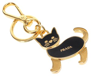 Prada Cat Handbag Charm Key Holder Black & Gold 1PS644