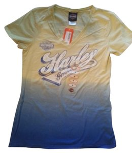 Harley Davidson Hd Ombre New With Tags Blue T Shirt Yellow