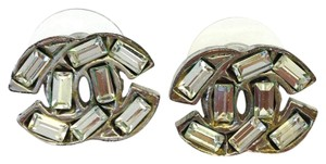 Chanel #8084 CC baguette crystals on Silver hardware pierced stud earrings
