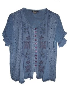 Gypsy Hippie Boho Embroidered Button Down Shirt Blue