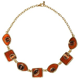 Stunning Resin Geometric Chain Collared Necklace,