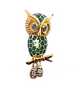 DeWitt's Vintage Owl Pin 18 Karat Yellow Gold With Diamonds & Green Enamel