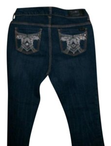 Seven7 Size 16 Distressed Embellished Pockets Boot Cut Jeans-Distressed