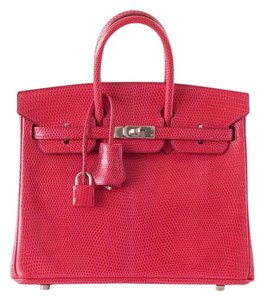 Hermès Birkin 25 Lizard Palladium Tote in Rouge Exotic