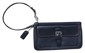 Coach Buckle Front Pocket Wristlet in Black with brown accent trim