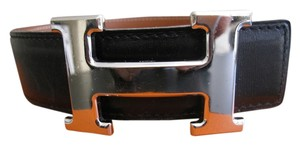 Hermès AUTHENTIC VINTAGE 32MM/65CM CONSTANCE REVERSIBLE HERMES LEATER BELT WITH SILVER BUCKLE
