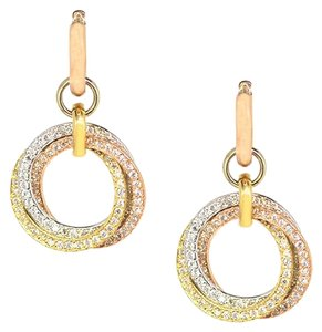 Other 14K Tri Color Gold 1.20Ct Diamond Hoop Dangle Earrings 7 Grams