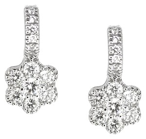 18K White Gold 1.15Ct Diamond Flower Hoop Earrings 3.4 Grams