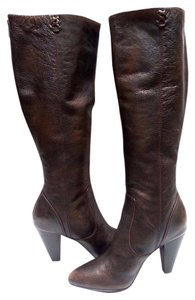 Frye Tall Back Zip Durable Leather Dark Brown Boots