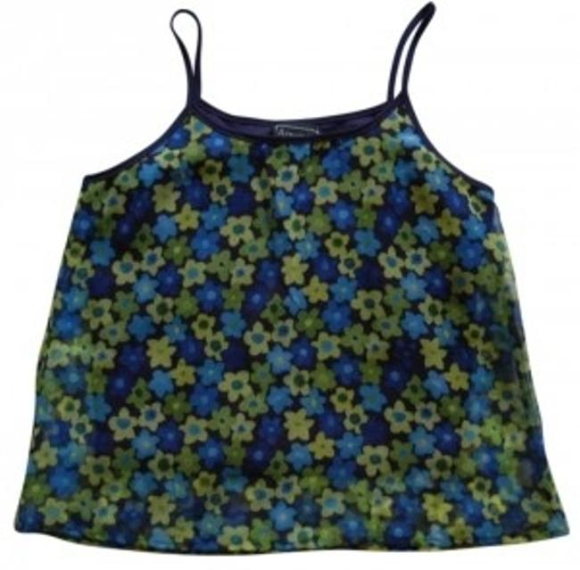 Item - Dark Blue Light Blue Light Green Sheer Floral Print Tank Top/Cami Size 8 (M)