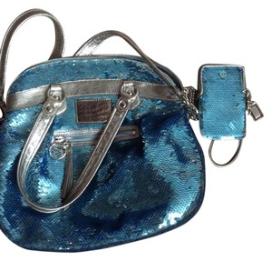 Coach Sequin Purse Satchel in blue