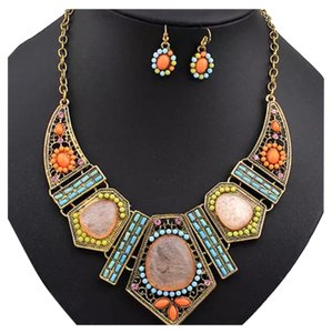 New Bohemian Geometric Statement Necklace and Earrings Set
