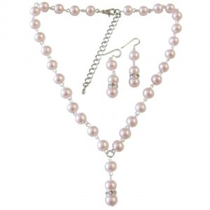 Pink Pearls Inexpensvie Drop Down Necklace Jewelry Set