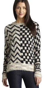 Lulumari Mix Print Patterned Eyelash Knit Stretch Sweater