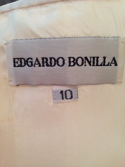 Edgardo Bonilla White Silk Satin Tulle Lace Short Full Strapless Top Lightweight Retro Wedding Dress Size 8 (M) Image 11