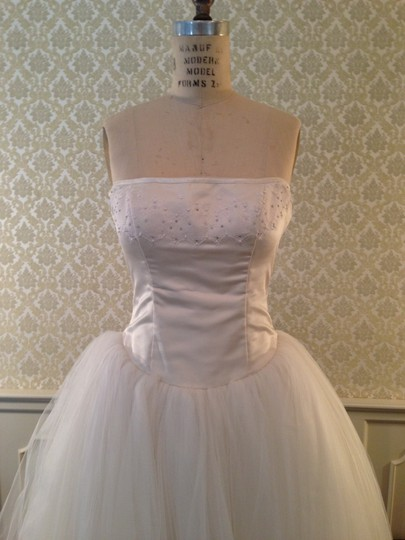 Edgardo Bonilla White Silk Satin Tulle Lace Short Full Strapless Top Lightweight Retro Wedding Dress Size 8 (M) Image 7