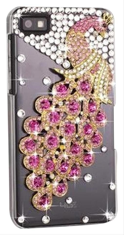 Blackberry Pink Clear Gold Z10 Rhinestone Peacock Phone Cover Tech Accessory