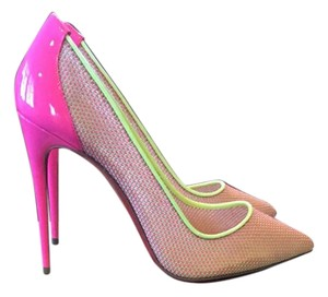 Christian Louboutin Loubs Hot Pink and Yellow Pumps