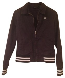 Hurley Striped Bold Stripe Letter Sporty Black Letterman Jacket