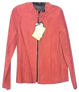 Denim & Co. Leather Suede Women orange and brown Leather Jacket