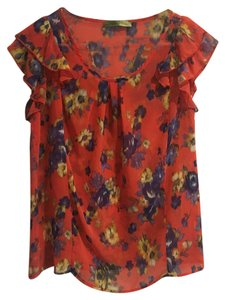 Francesca's Top Floral, red, blue, purple, yellow