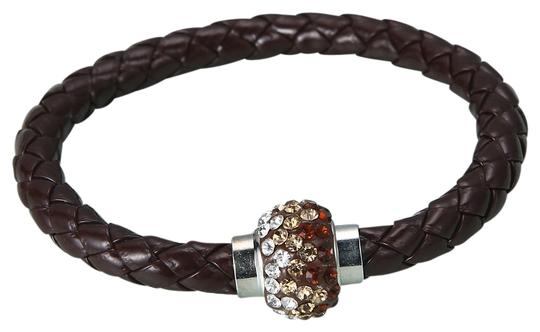 Independent Clothing Co. Chocolate Brown Crystal Leather Braided Bracelet