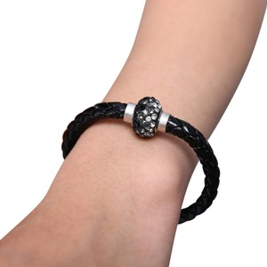 Independent Clothing Co. Black Crystal Leather Braided Bracelet