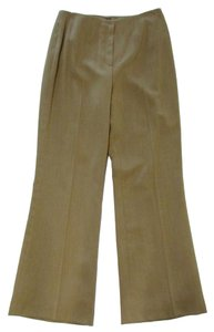 Juliana Collezione Wide Leg Flare Pleated Wool Flare Pants Brown