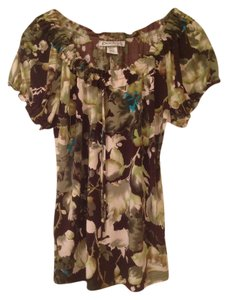 Claudia Richard Peasant Style Off-the-shoulder Bohemian Boho Top Floral