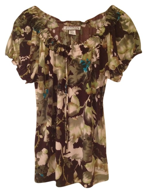 Item - Floral Off-the-shoulder Peasant Bohemian Boho Chic Blouse Size 8 (M)